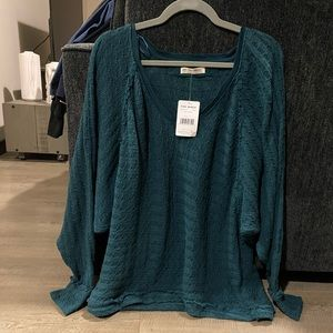 teal free people sweater/top size large NWT